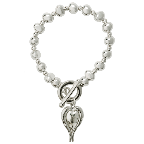 Bisoux Heart Feature Elasticated Bracelet with T Closure in Silver